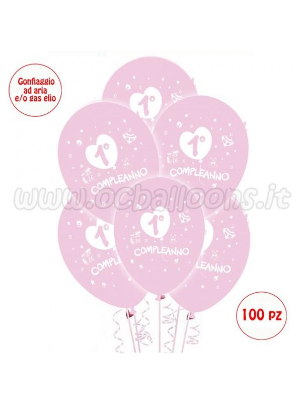 Palloncini 1° Compleanno Rosa 50 pz
