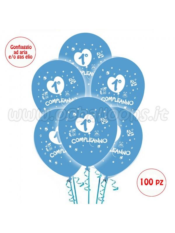 Palloncini 1° Compleanno Azzurro 50 pz