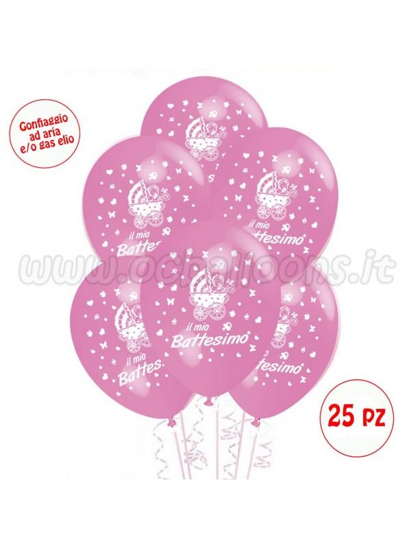 Palloncini Il Mio Battesimo rosa 25pz