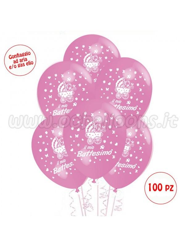 Palloncini Con Scritta Il Mio Battesimo Rosa 100 Pezzi