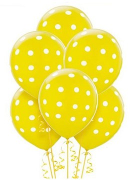 Palloncini Pois Gialli 20 pz