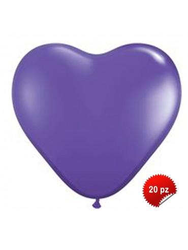 Palloncini Cuore Viola 20pz