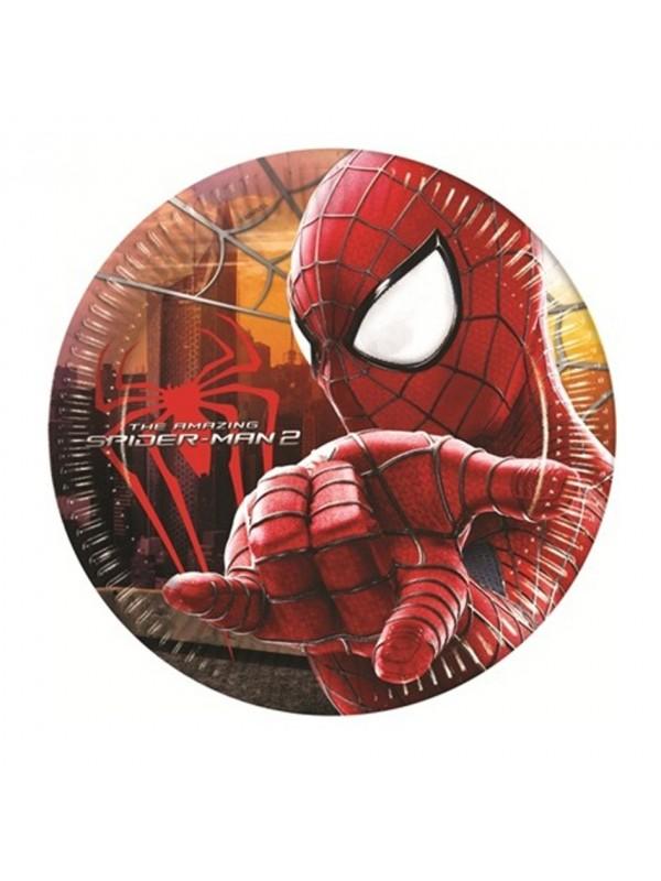 Piatti Spiderman 20 cm 8pz