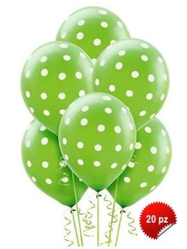 Palloncini Pois Verdi 20 pz