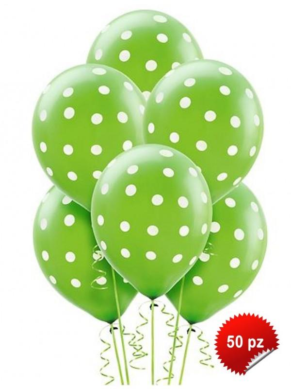Palloncini Pois Verdi 50 pz